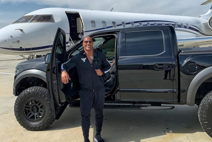 The Rock didn't miss posting a birthday selfie of his Ford Raptor and Private Jet on his Instagram account.