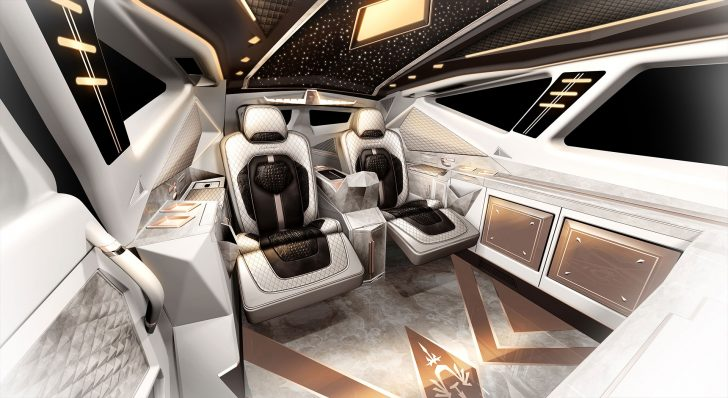The passengers can relax inside comfortably due to its luxurious interior design and leather couches.